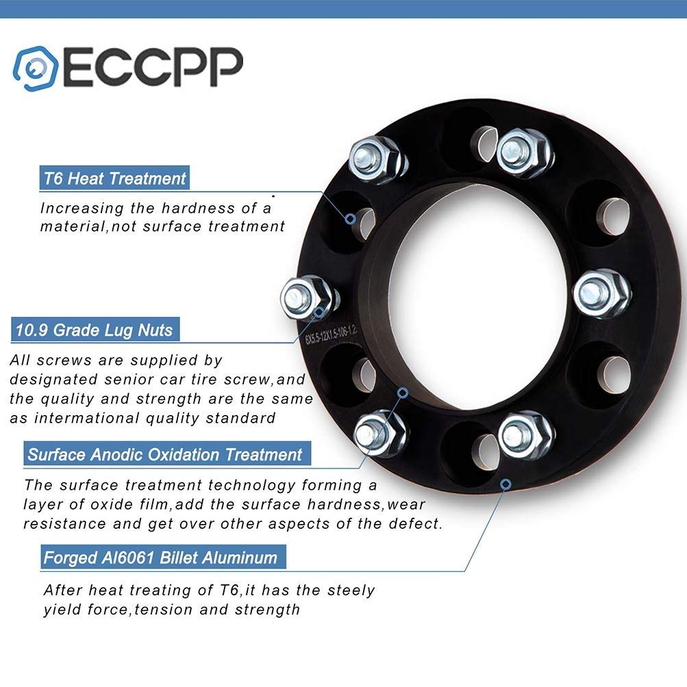ECCPP 4X 2 Wheel Spacer Adapter 8x6.5 to 8x6.5 8 Lug fit for GMC Sierra 3500 HD GMC Sierra 1500 HD with 14x1.5 Studs