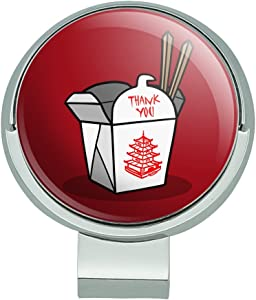 GRAPHICS & MORE Chinese Food Takeout Box with Chopsticks Golf Hat Clip with Magnetic Ball Marker