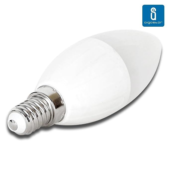 Pack de 5 Bombillas LED C37 vela, 7W, casquillo delgado E14, 490 lumen, luz calida 3000K: Amazon.es: Iluminación