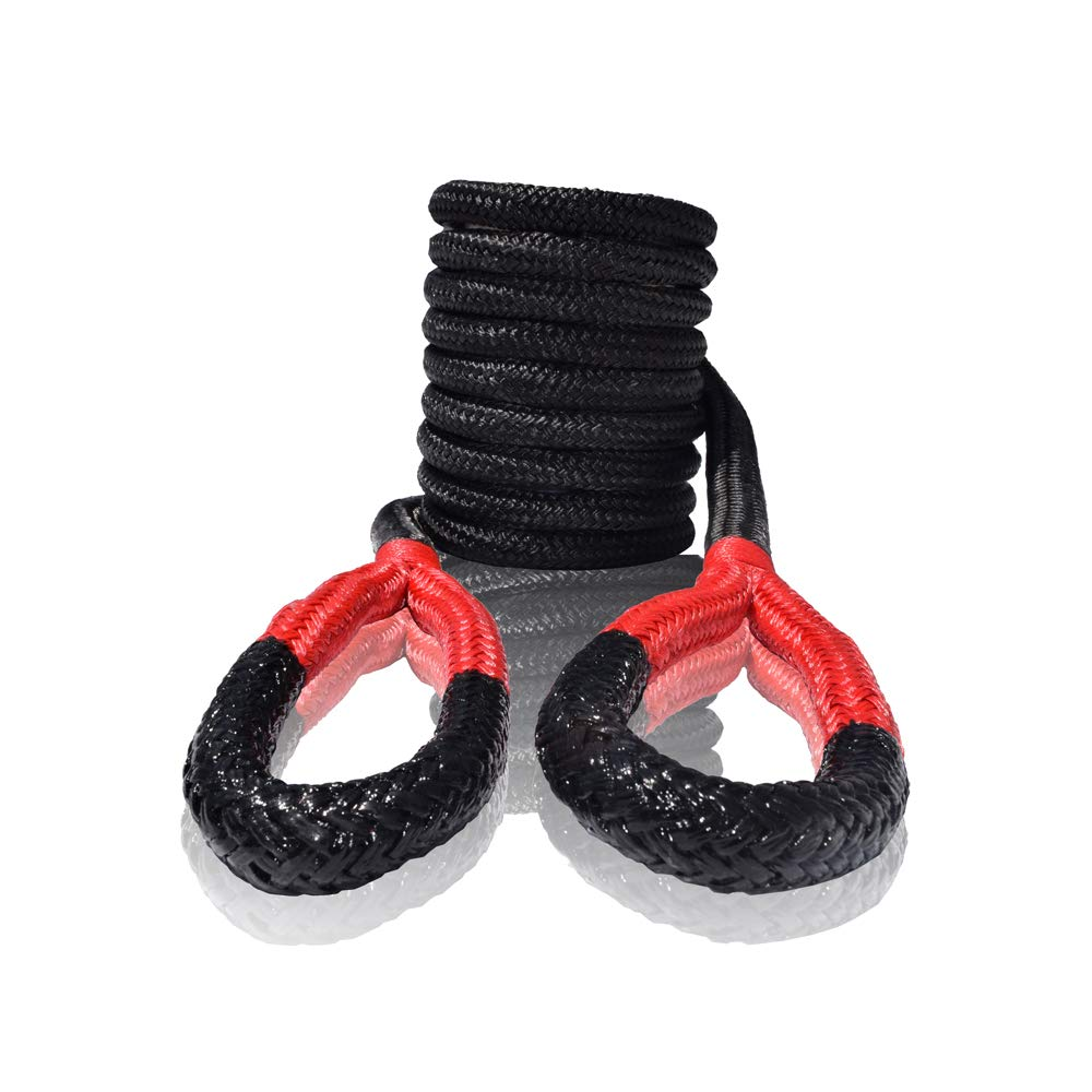 1/2'' 20ft Kinetic Recovery Rope,1/2'' Energy Rope, Kinetic Rope,Double Braided Nylon Rope (Black) by QIQU