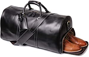 Leathfocus Leather Travel Duffel Bag, Classic Leather Weekend Bag Mens Gift Overnight Retro Sport Gym Carry on Luggage YKK Zipper (Black Oil)
