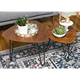 WE Furniture Hairpin Leg Wood Nesting Coffee Table Set - Walnut
