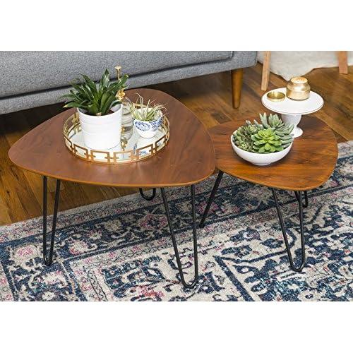 WE Furniture Hairpin Leg Wood Nesting Coffee Table Set - Walnut