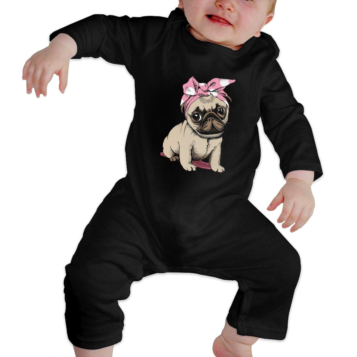 Fasenix Pink Pug Newborn Baby Boy Girl Romper Jumpsuit Long Sleeve Bodysuit Overalls Outfits Clothes