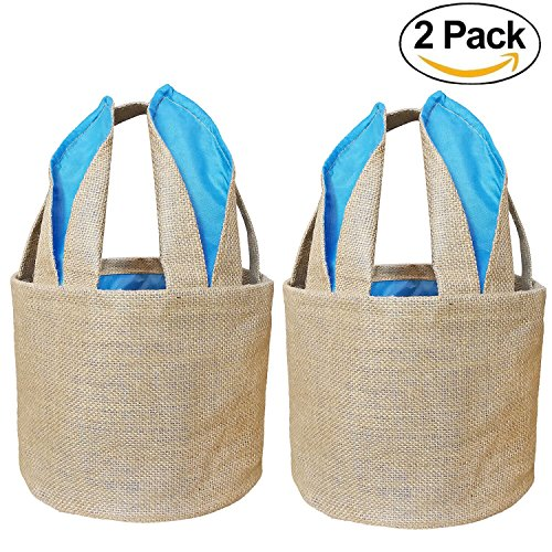 Easter Eggs Basket Bunny Baskets for Kids with Cross-stitch Line Burlap Gift Bag Round Tote Jute Bags for Embroidery DIY Daily Use (2 Pack, Blue) FH04BL (Burlap Basket)