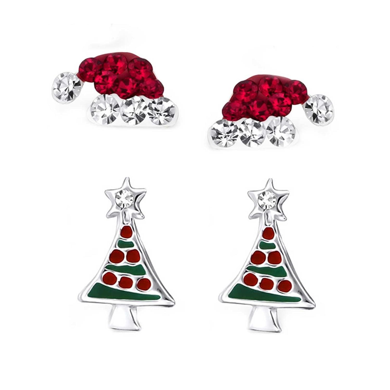 SL-Silver Lot de 2paires de boucles d'oreilles de Noël, bonnet du père Noël et sapin de Noël argent 925dans un coffret cadeau SL-Set-E23