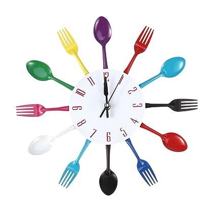 WINOMO Reloj de pared de cocina cocina moderna cubiertos cuchara tenedor reloj de pared espejo etiqueta