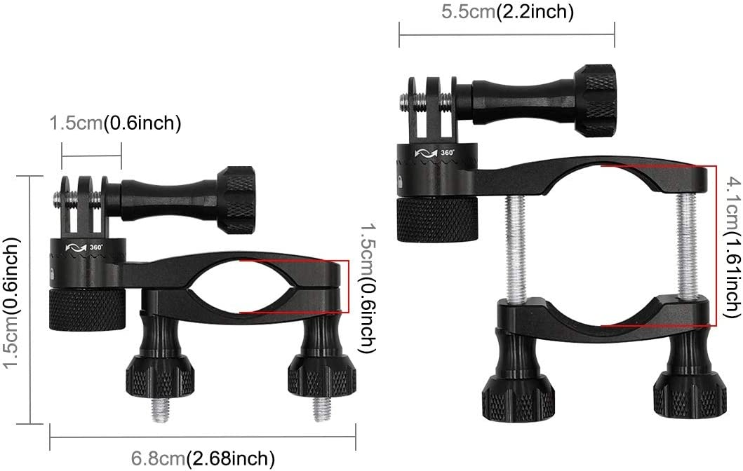 360 Degree Rotation Bike Aluminum Handlebar Adapter Mount with Screw for GoPro HERO7 //6//5 Session //5//4 Session //4//3+ //3//2 //1 Other Sport Cameras Color : Black Black Durable
