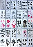 Temporary tattoo sticker-30 small sheets/flowers/Chinese buddhist word and phrase/elephant/cat/star/etc
