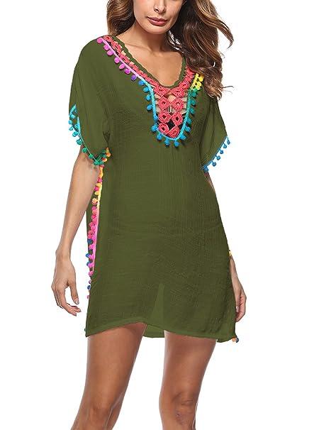 e3393ef366378 METERDE Women' Beachwear Pom Pom Trim Swimsuit Cover Up Caftan Army Green