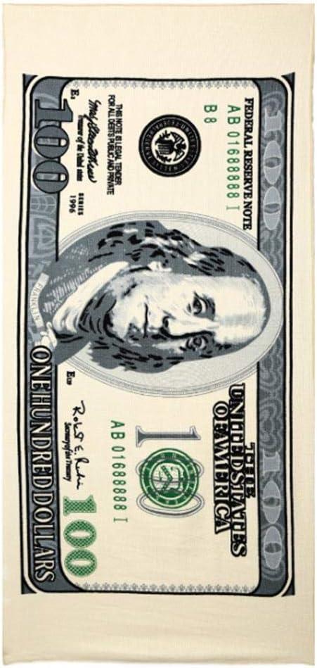 Fdit Nuevo 100 Dollar Euro Bill Print Toalla de Playa brasileña de Terciopelo 28 x 55 Pulgadas Toalla de baño Divertida de Dinero de Apoyo para la Piscina de la Playa Tomar el Sol(Dólar)