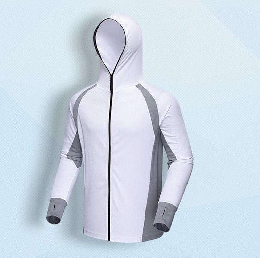 Qi Mai Men Outdoor Sunscreen Fishing Coats Quick Drying Rash Guards 1197 (L, White) by Qi Mai (Image #2)