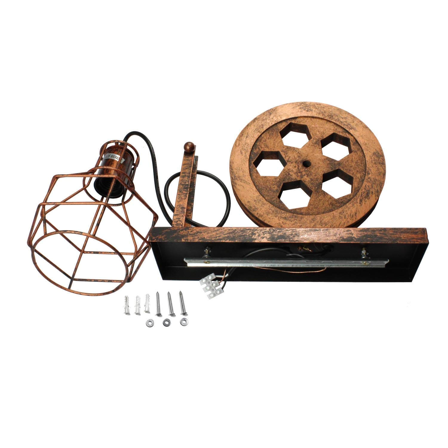 1 Light,Industrial Retro Iron Wall Lamp Creative Personality Lift Pulley Wall Lights Fixture for Indoor Lighting Barn Restaurant in Rust Finished by ZPKelin ZP-W002
