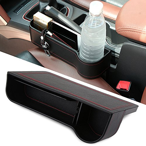 9 MOON Side Pocket Organizer – Car Seat Filler Gap Space Storage Box Bottle Cup Holder Coin Collector | Car Interior Accessories | Premium PU Leather