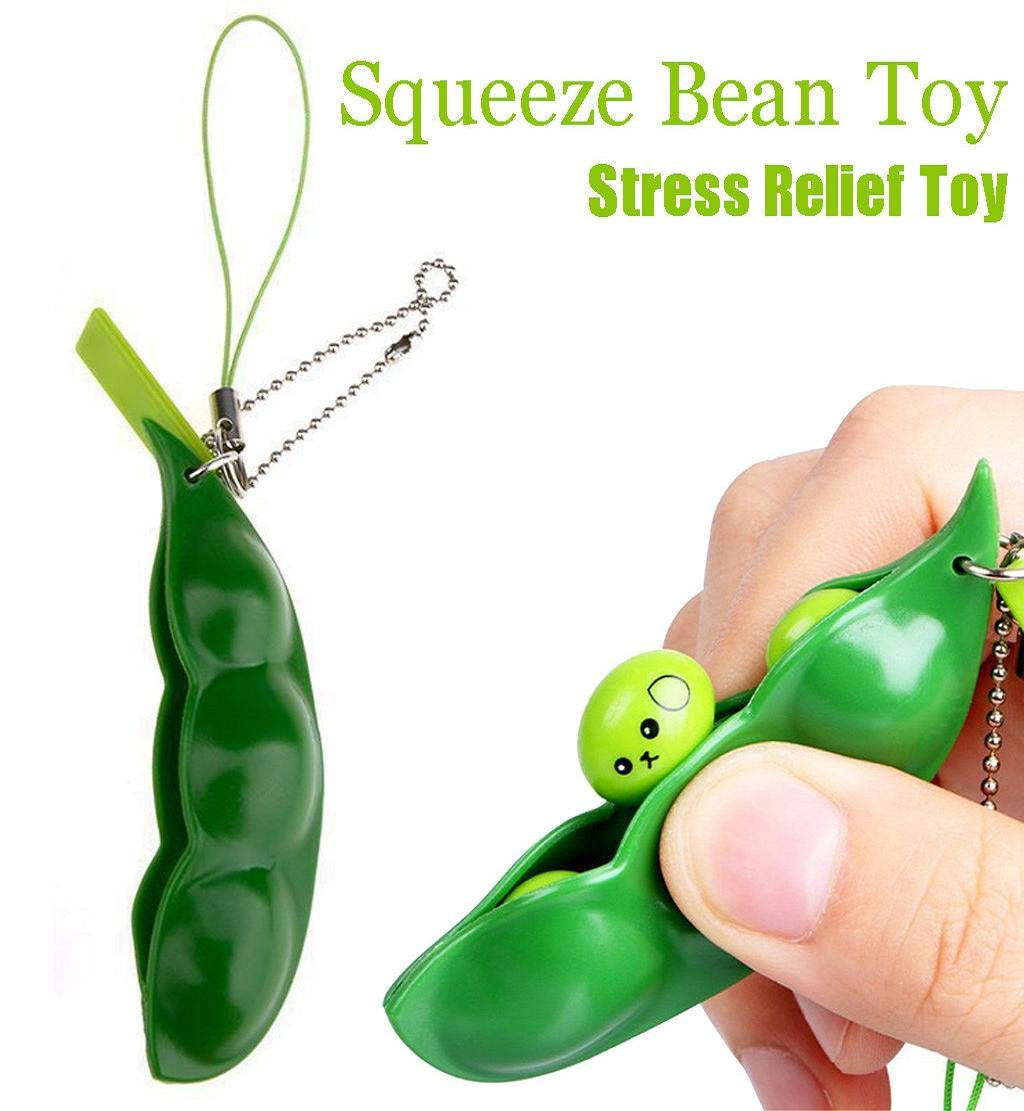 DEESEE(TM) Squeeze Bean Stress Relief Fidget Bean Squishies Toys Keychain Improve Focus Toy
