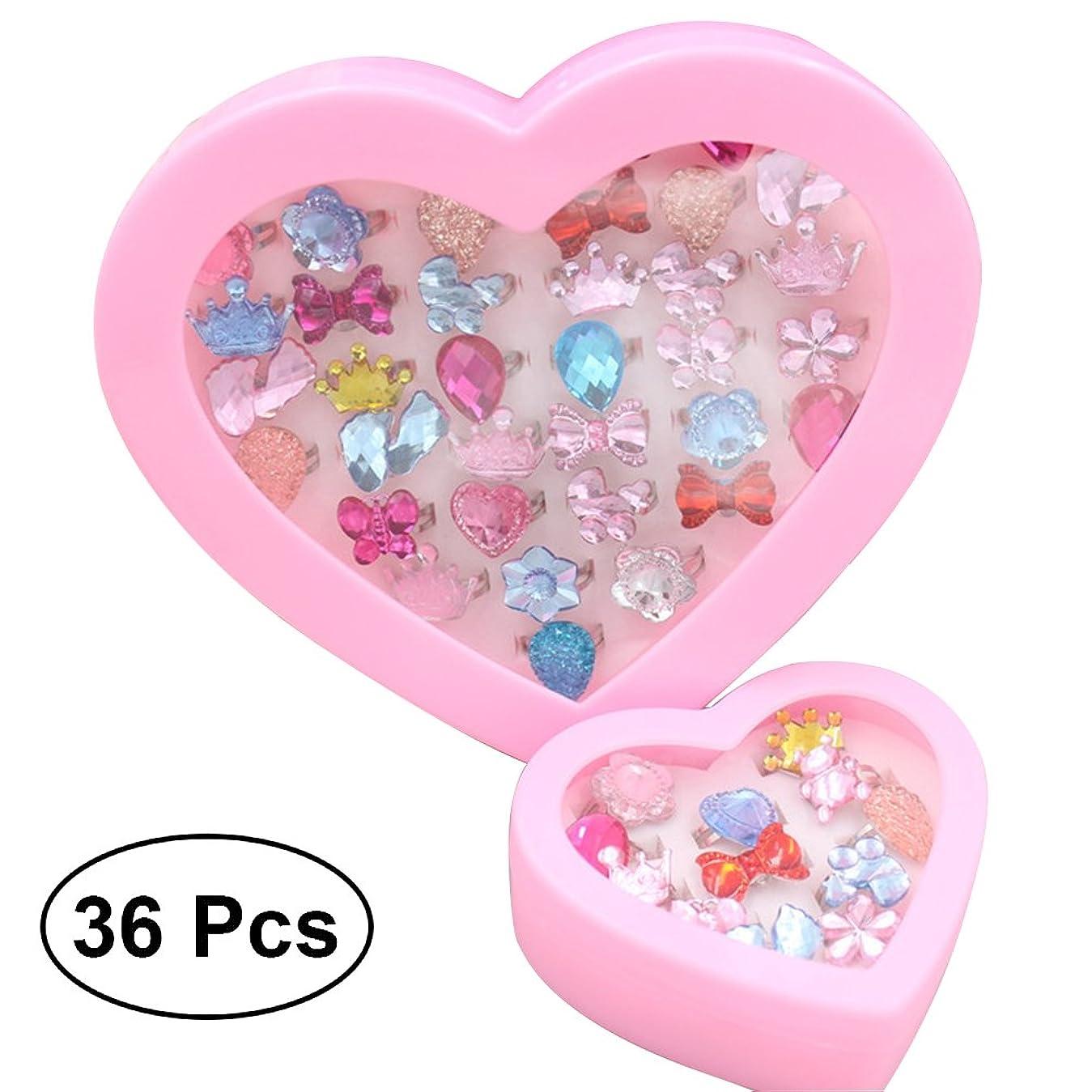 実証する蛾スカイWINOMO 指輪セット おもちゃ 女の子リング かわいい指輪 サイズ調節でき 36個セット