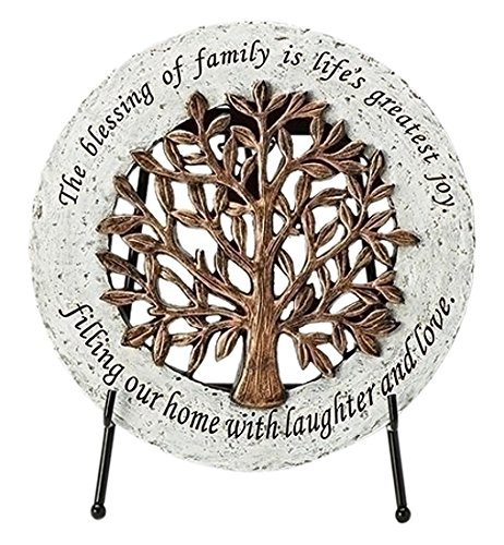 - Roman 11070 Indoor or Outdoor Round Stepping Stone with a Filigree Design and an Easel. Inscribed with a Verse.