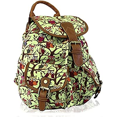 Kukubird Owl Print Twin Pocket Backpack / Rucksack / School Bag (GREEN) durable modeling