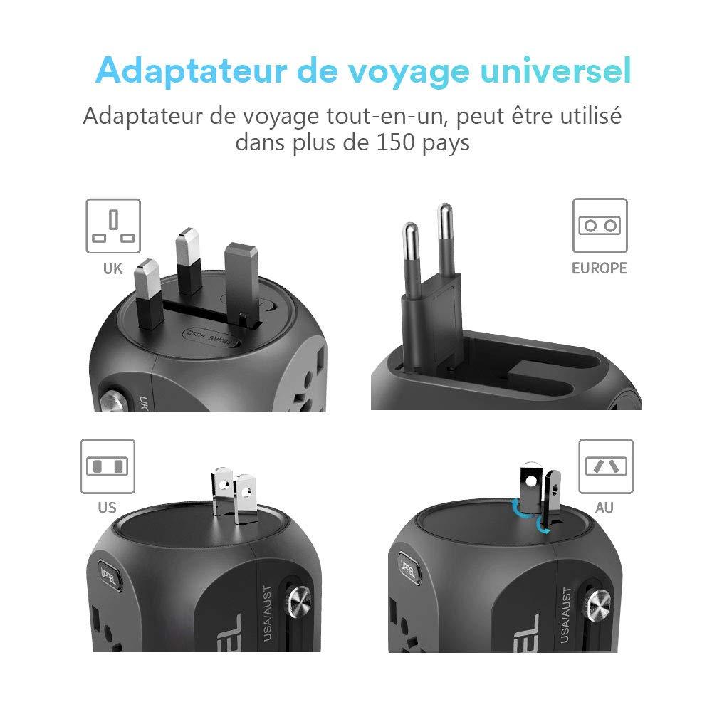 2 fusibles US//EU//UK//AU Red Adaptateur de Voyage Universel avec QC3.0 Charge Rapide 2 Ports USB 3.0 et 1 Interface de Type C dans Un Chargeur Multifonction pour Plus de 180 Pays