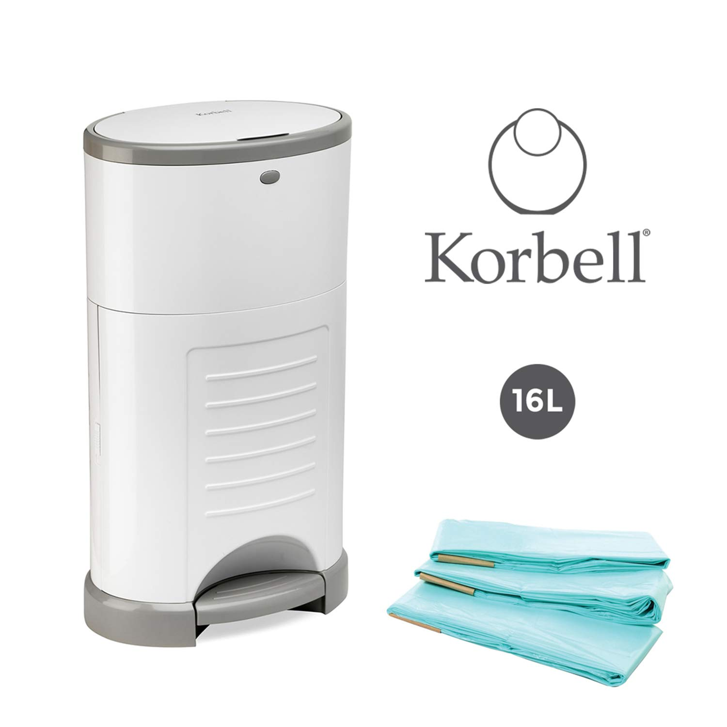 White Bin Hands Free /& Odour Free Includes 4 Packs of Refillable Liners Korbell 16L Nappy Bin /& Liner Bundle