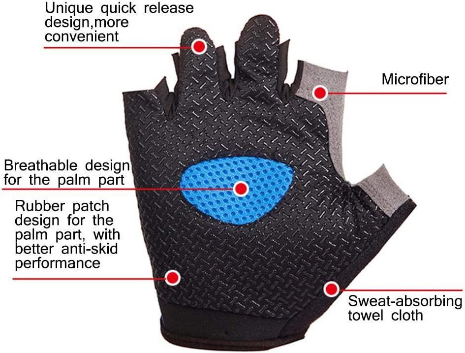 High Elastic Breathable Mesh Half-Fingered Riding Gloves Fitness Gloves Bike Gloves Mountain Road Bike Gloves Nicemeet Outdoor Sports Cycling Gloves Anti-Slip Breathable