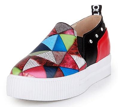Easemax Damen Fashionable Durchgängiges Plateau Quadrate Zehen Nieten Schnalle Metall Sneakers Schwarz 37 EU v5PGjv6Z
