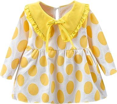 YWLINK 12-24M Ropa De OtoñO E Invierno para NiñAs Bebé NiñA Punto Volantes Manga Larga Vestido Vestido De Fiesta Princesa Chaqueta Camisa De Fondo: Amazon.es: Ropa y accesorios