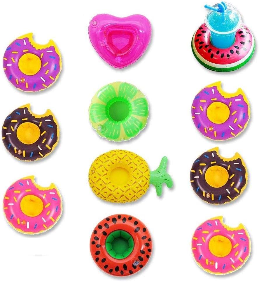 Koogel Inflatable Drink Holders, 10 Packs Floats Cup Holders Floating Drink Holder for Pool Drink Floats Inflatable Cup Coasters for Pool Party Kids Bath Toys