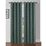 Cheap Window Elements Camille Printed Faux Silk 76 x 84 in. Grommet Curtain Panel Pair, Turquoise/Chocolate