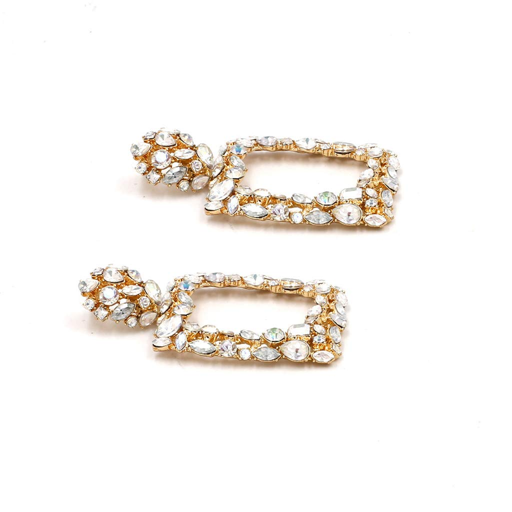 Princegame Shiny White Crystal Square Drop Earrings Statement Big Earrings Fashion Jewelry