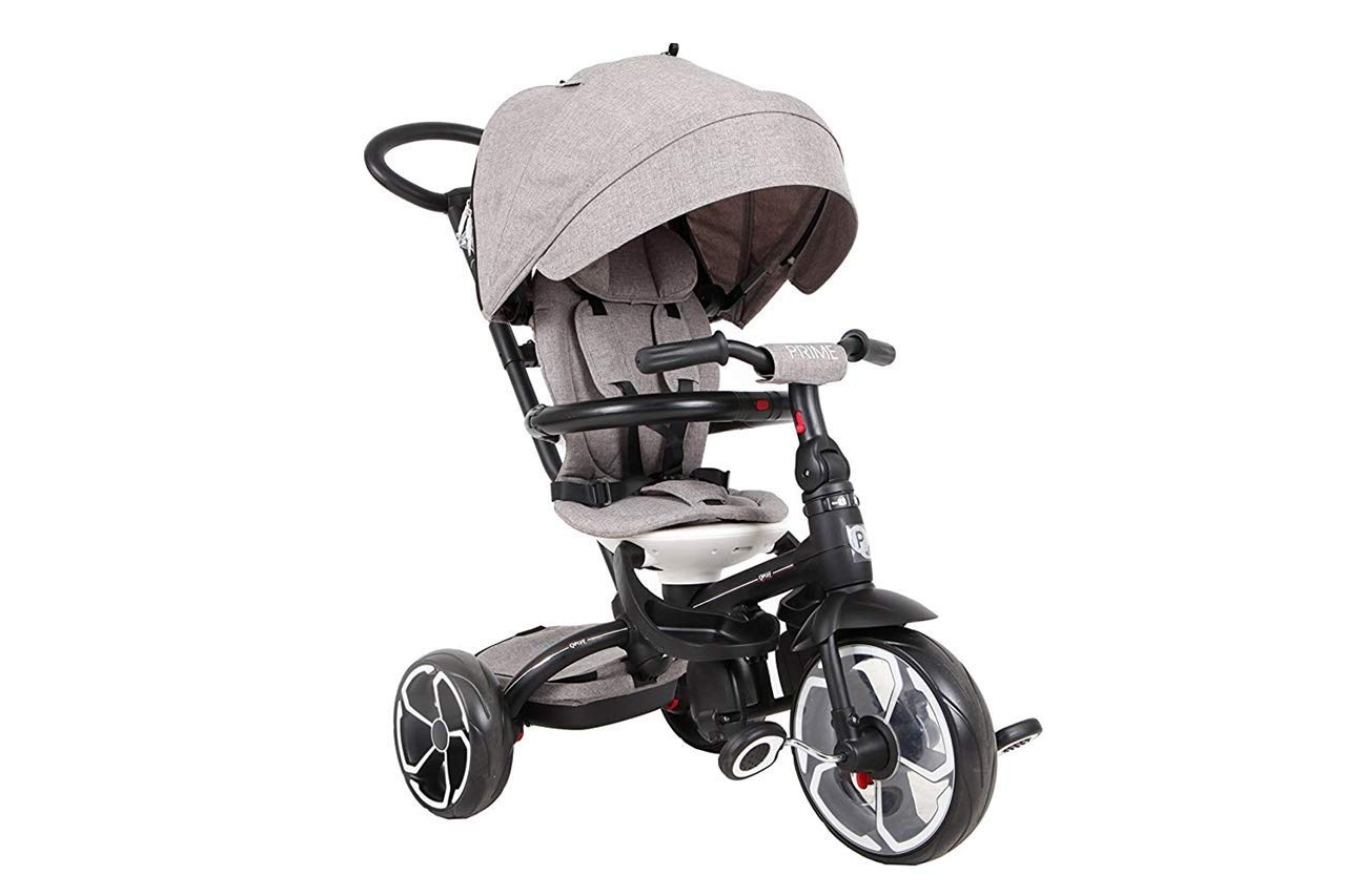Triciclo evolutivo Prime 4 en 1 - Asiento giratorio 360º - de 10 a 36 meses - Gris - QPlay