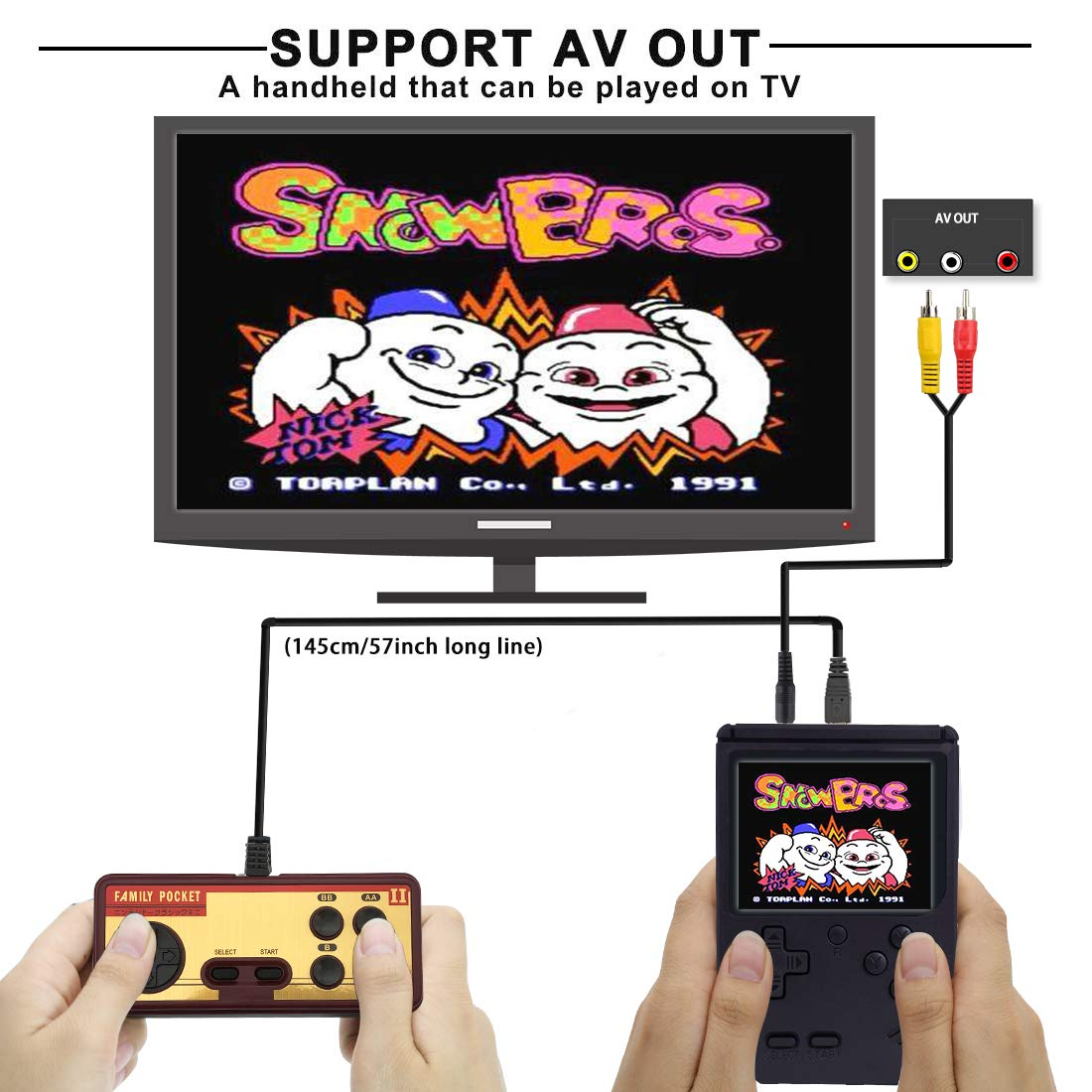 AKTOUGST Handheld Game Console, Retro Game Console 400 Classic Game FC System Video Portable Mini Extra Joystick Controller Support TV 2 Player,Gift for Children Adult, (Black) by AKTOUGST (Image #2)