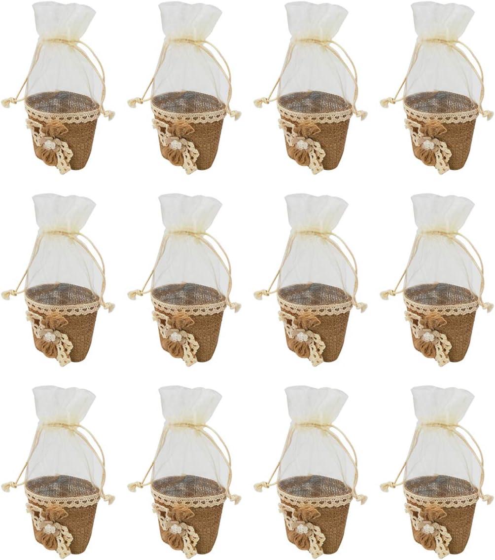 12 Piezas,Bolsa Gasa Boda,Diseño de Moderno,Ideal para Regalo,Recuerdos,Comunión Detalle,Bautizo,Boda,Cumpleaños,Fiesta,Viaje,Para Invitadas-Lino Flore