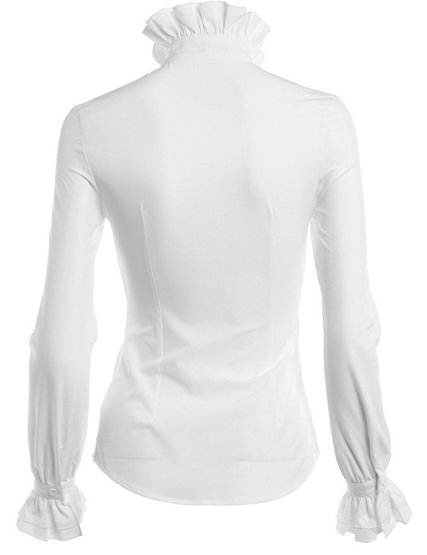 DEARCASE Women Stand-Up Collar Lotus Ruffle Shirts Blouse 4