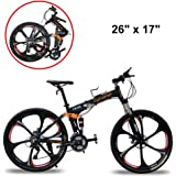 Extrbici FR100 Mountain Folding Bike Bicycle for Adults Full Suspension 24 Speeds Shimano M310 Gears Aluminum Frame 17x26 Inch Wheel Mechanical Disc Brakes for Mens (US STOCK)