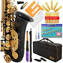 Lazarro Professional Black-Gold Keys Eb E Flat Alto Saxophone Sax, 11 Reeds, Case & Many Extras - 24 COLORS Available - 360-BK