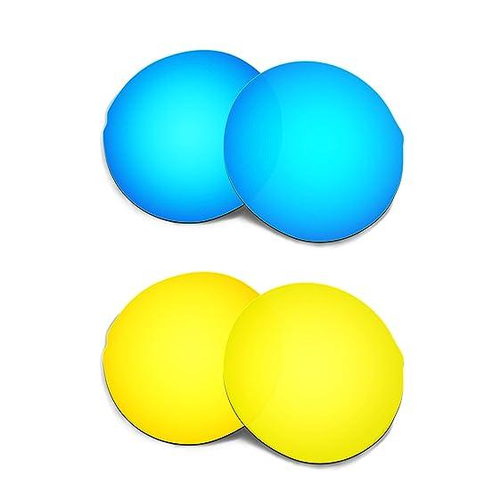 HKUCO Mens Replacement Lenses For Oakley X Squared Blue/24K Gold Sunglasses fyVNkC2