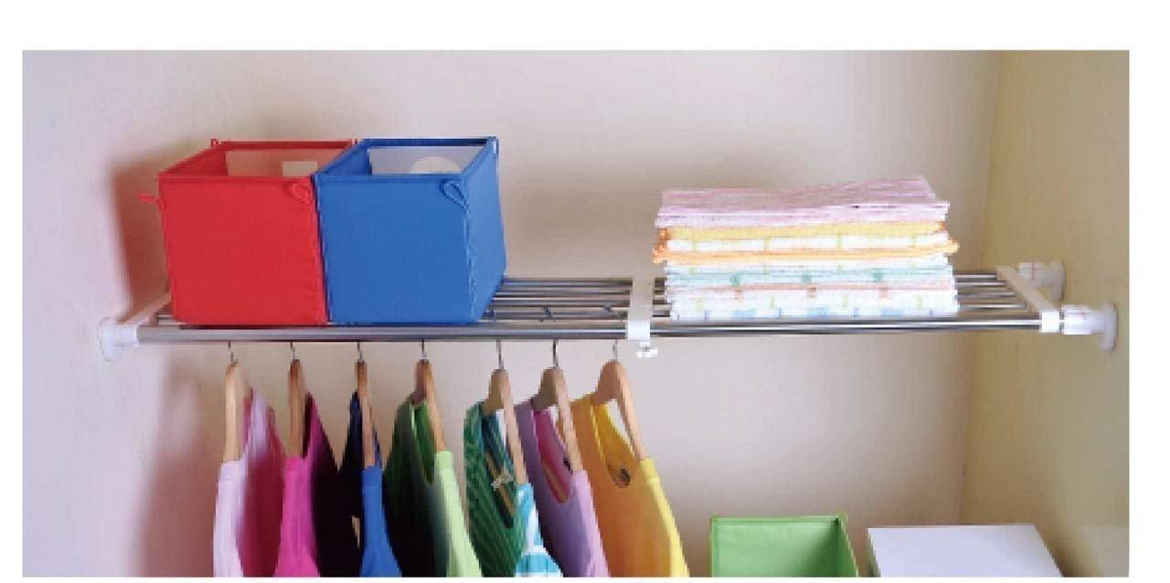 Adjustable Shelf - Wardrobe Bathroom Kitchen Cupboard Hanging Shelves Rail (Extension Scale 75-120cm) Safri®