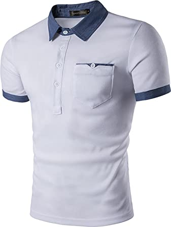 Sportides Mens Hombre Polo Shirts Camisetas Contrast Collar Golf ...