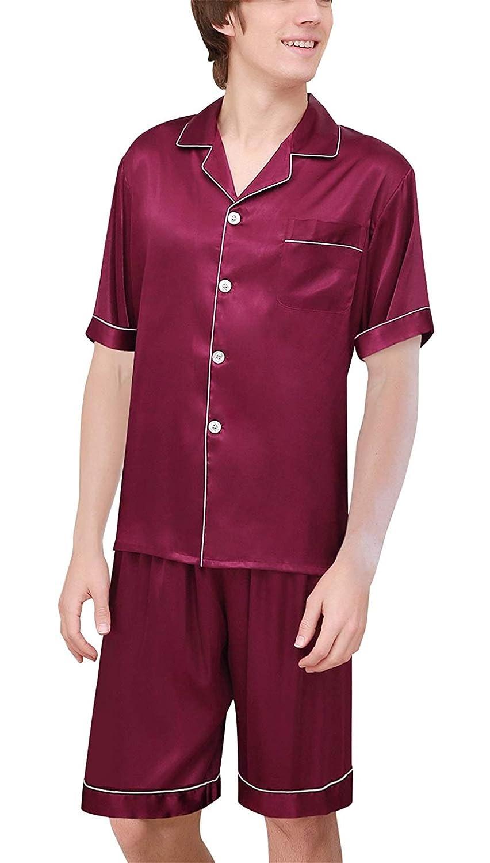 e4e937bfe3 BoBoLily Men s Pajamas Set Summer Lightweight Sleepwear Bathing Comfortable  Home Loungewear Negligee Special Style Pajama Two Piece  Amazon.co.uk   Clothing