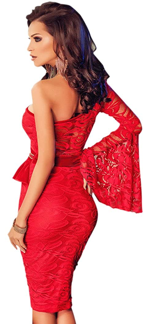 Blorse Red Lace One Shoulder Bell Sleeve Peplum Dress - Red -: Amazon.co.uk: Clothing