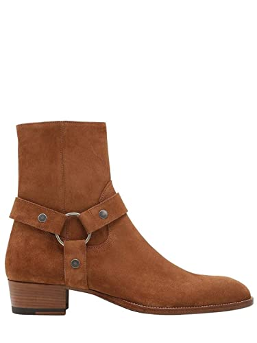 3e4ef4f24b7 Image Unavailable. Image not available for. Color: Saint Laurent Wyatt 40MM  Belted Brown Authentic $1670 Cropped Boots ...