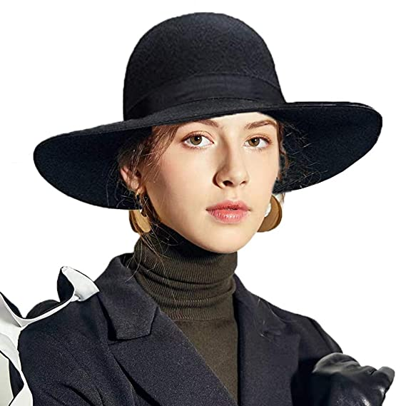Women's 100% Wool Felt Floppy Hat Fedora Wide Brim Cloche Bowler Hat Foldable