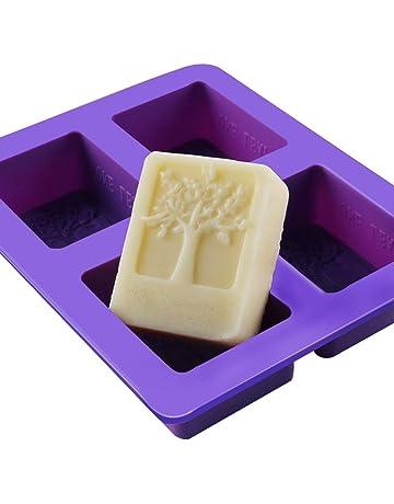 Outflower - 4 moldes de silicona rectangulares para hacer jabón, gelatina, helado, pasteles