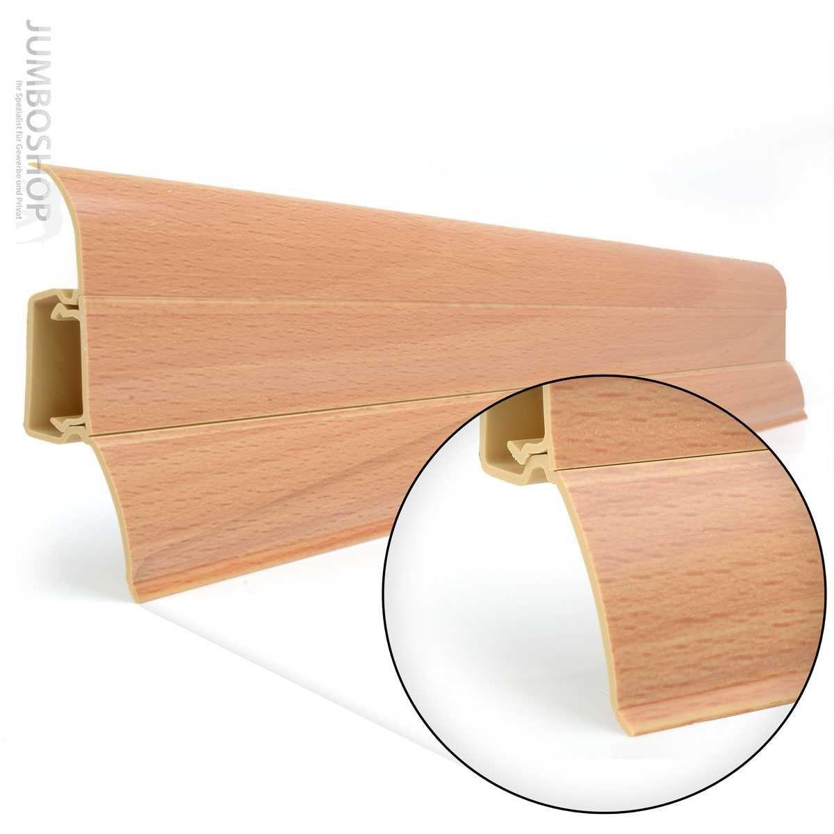 HOLZBRINK Linkes Endst/ück passend zum Dekor Ihrer Sockelleisten 62mm x 23mm Perfecta 102 Buche