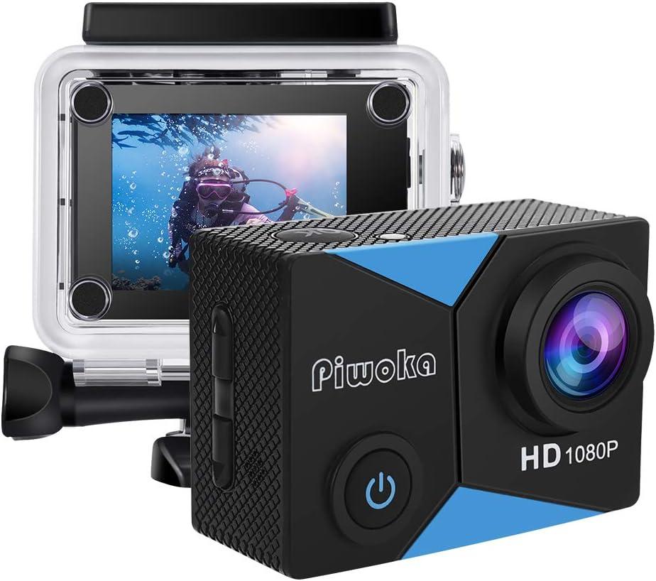 Piwoka Cámara deportiva HD1080P 12MP impermeable 30M acción cámara submarina pantalla 2
