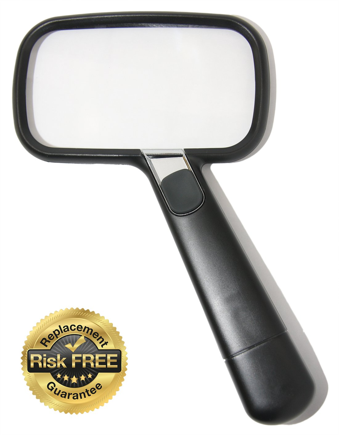 EasY Magnifier Rectangular Magnifying Glass 2X with Bright LED Light Best Large Protected Clear Acrylic Lens; Lighted Lupe For Reading Books Newspaper Maps, Low Vision Aid Macular Degeneration