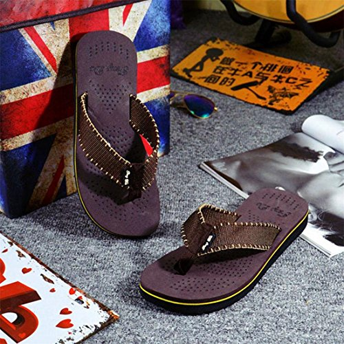 Malloom® Sandalen, Männer Herren Sommer Streifen Flip Flops Schuhe Sandalen Slipper Braun
