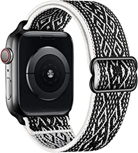 SIRUIBO Stretchy Nylon Solo Loop Bands Compatible with Apple Watch 38mm 40mm, Adjust Stretch Braided Sport Elastics Women Men Strap Compatible with iWatch Series 6/5/4/3/2/1 SE, Black White Rhombus