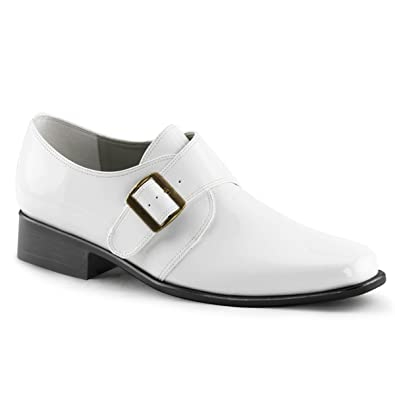 Amazon.com - Mens Glossy White Loafers Dress Shoes with Buckle ...